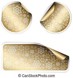 Golden Christmas labels and stickers