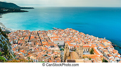 Areal view of Cefalu, Italy. Beautiful photo of sicilian...