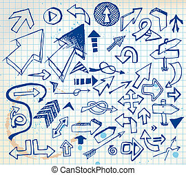 Big set of various doodle arrows on  a squared paper
