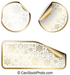White Christmas labels and stickers with golden border and...