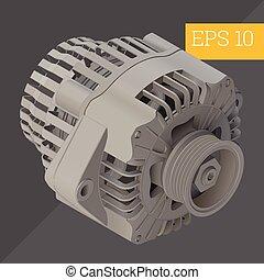 alternator isometric vector illustration - electric car...