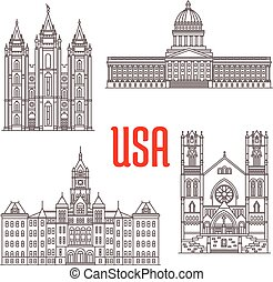 Famous buildings symbols and icons of US. Salt Lake Temple,...
