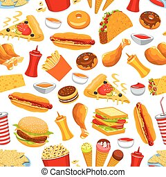 Fast food snacks and drinks seamless pattern - Fast food...