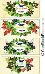 Garden berries fruits banners