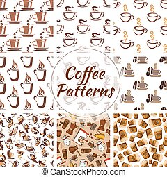 Coffee cups seamless patterns