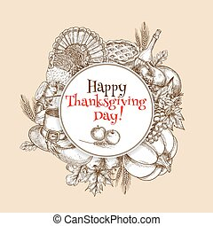 Thanksgiving vector sketch greeting card element