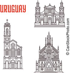 Historic famous architectural buildings of Uruguay - Church...