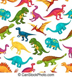 Cartoon dinosaurs children seamless pattern - Cartoon toy...