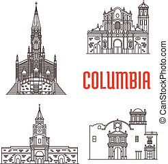 Icons of Columbian famous buildings. Cathedral of Our Lady...