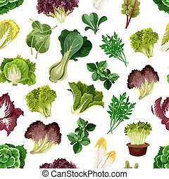 Salad greens and leafy vegetables pattern. Vegetarian fresh...