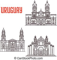 Uruguay architecture landmarks icons - Famous buildings of...