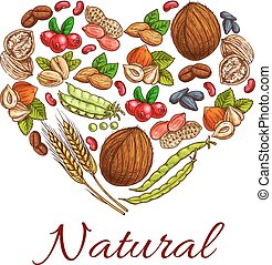 Healthy nuts, grain, berries icons in heart shape....