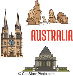 Australian buildings and landmarks icons. Vector St Mary...