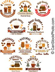 Coffee sorts emblems set for cafe, restuarant - Coffee...