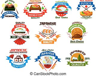 Japanese food and seafood restaurant emblems