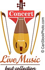Violin with bows. Concert live music emblem with vector icon...