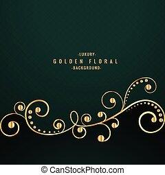 golden floral design on green background