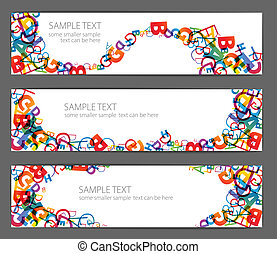 Banners with colorful rainbow numbers - Collection of...
