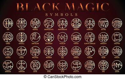 Set of Black magic Symbols. Black magic or Dark magic has...