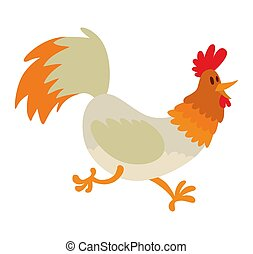 Cute cartoon rooster illustration. Cartoon rooster isolated...
