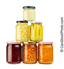 preserved vegetables - stack of preserved vegetables: beans,...