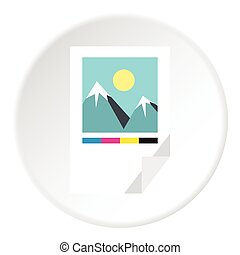 Printed picture icon, flat style - Printed picture icon....