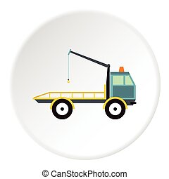 Tow truck icon, flat style - Tow truck icon. Flat...