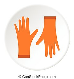 Rubber gloves icon, flat style - Rubber gloves icon. Flat...