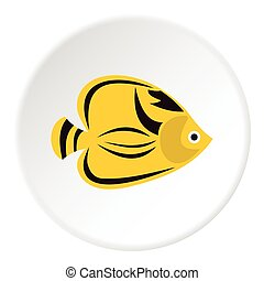 Fish yellow tang icon, flat style - Fish yellow tang icon....