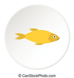 Yellow marine fish icon, flat style - Yellow marine fish...
