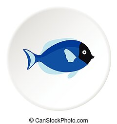 Surgeon fish icon, flat style - Surgeon fish icon. Flat...