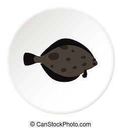 Fish flounder icon, flat style - Fish flounder icon. Flat...