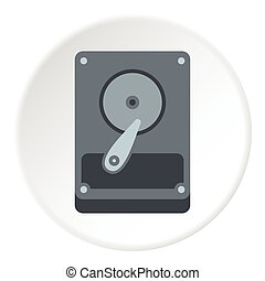 Hard drive data icon, flat style - Hard drive data icon....