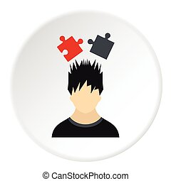 Male avatar and jigsaw puzzles icon, flat style - Male...
