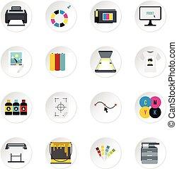 Conjunto, plano, estilo, impresión, iconos