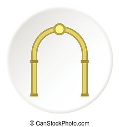 Oval arch icon, flat style - Oval arch icon. Flat...