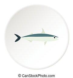 Smelt fish icon, flat style - Smelt fish icon. Flat...