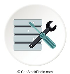 Database setup icon, flat style - Database setup icon. Flat...