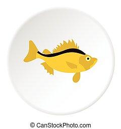 Ruff fish icon, flat style - Ruff fish icon. Flat...