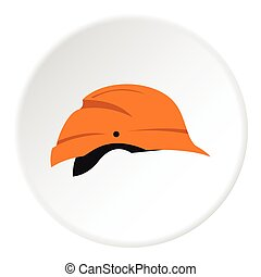 Construction helmet icon, flat style - Construction helmet...