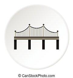 Iron bridge icon, flat style - Iron bridge icon. Flat...