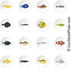 Fish icons set, flat style - icons set. Flat illustration of...