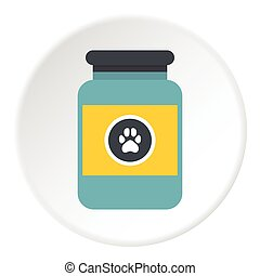Treatment solution for animals icon, flat style - Treatment...