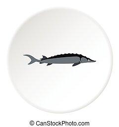 Stellate fish icon, flat style - Stellate fish icon. Flat...