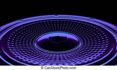 seamless vj musical motion loop - neon speaker. 3D render -...