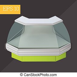 Refrigerated counter isometric vector illustration - chiller...