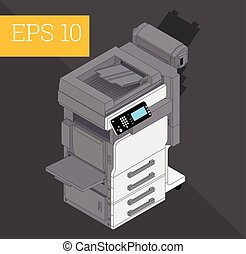 Copier printer isometric vector illustration