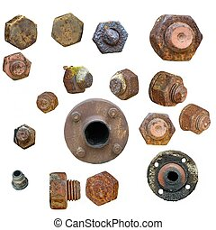 Old rusty Screw heads, bolts, steel