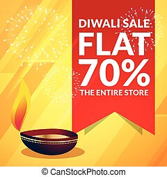 beautiful diwali sale discount promotional banner with diya on yellow background