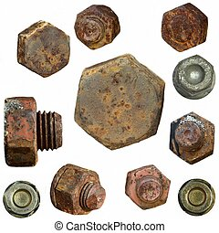 Old rusty Screw heads, bolts